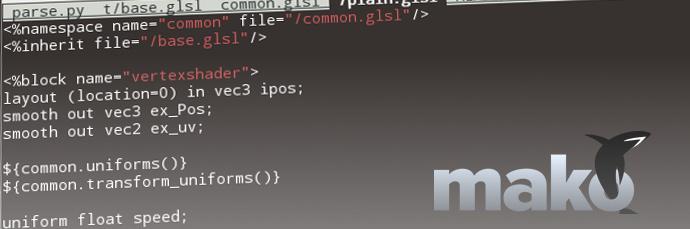 Generating GLSL shaders from Mako templates
