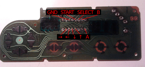 Empty circuit board of the NES controller. Pins for the buttons are marked in red. Full size